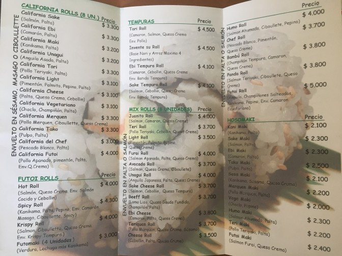 Take out menu 3
